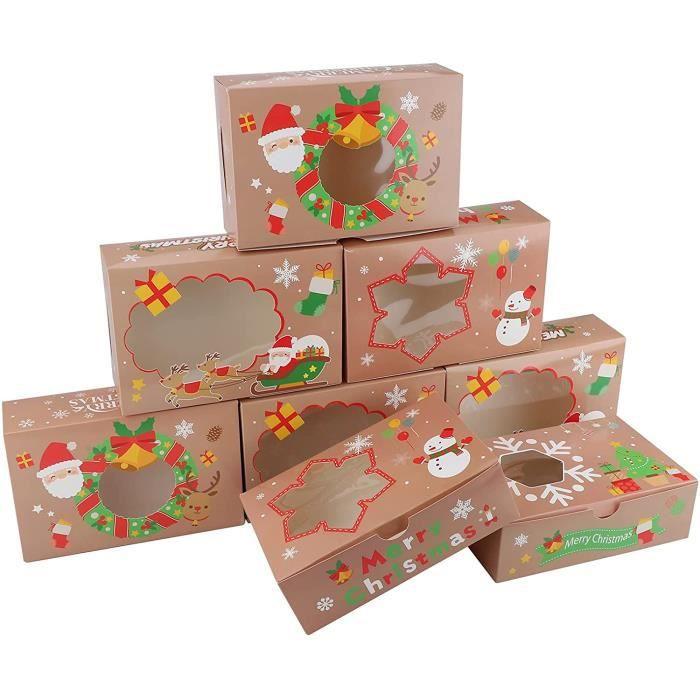 Boîtes à biscuits de Noël,12 pack cadeau emballages avec fenêtre,22x14.5x7cm Food Food Bakery Treat Boîtes pour cupca Brownies 682