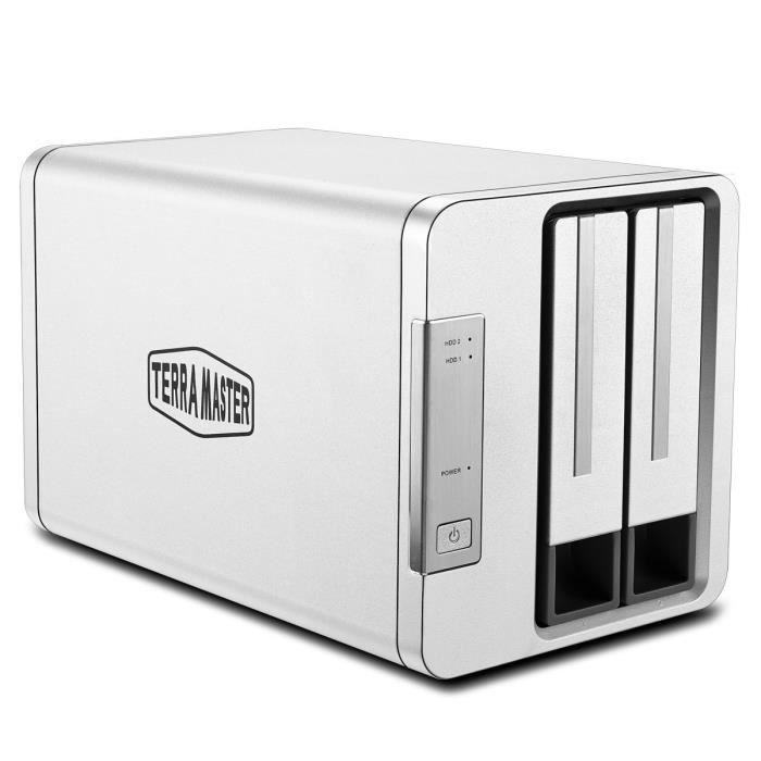 TerraMaster D2-310 USB3.1(10Gbps) Type C Boîtier Disque Dur Externe 2 baies RAID pour 2.5'' et 3.5'' HDD, SSD(2 x12To) (Sans Disque)