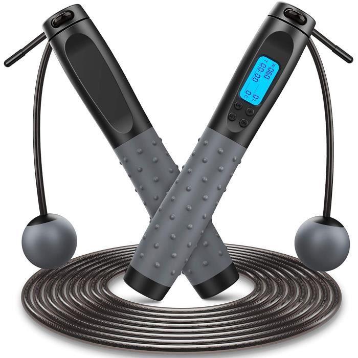 Corde a Sauter Sport Maison Materiel Musculation 3M Réglable avec Compteur LED Speed Jump Rope, Corde à Sauter sans fil Roulements à