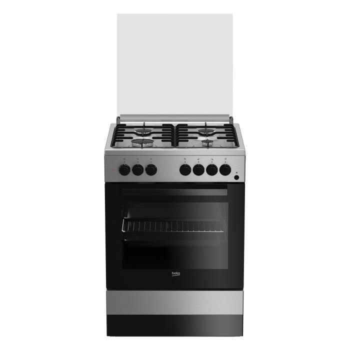 Beko FSE62110DX, Cuisinière, Acier inoxydable, Rotatif, Devant, Cuisinière à gaz, Moyenne