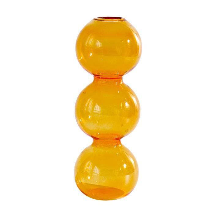 Fleur En Verre clair Vase, Élégant Décoratif Floral Vases Hydroponique Conteneurs Accueil Salon, Bureau, table et 3 balles jaune