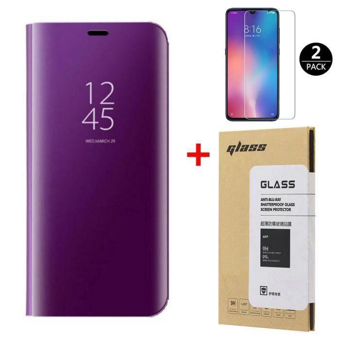 Coque Xiaomi Mi 9 Lite+[2 Pack] Verre trempé Déverrouillage d'empreintes digitales,Miroir Flip Case Housse Étui pour Xiaomi 9 Lite