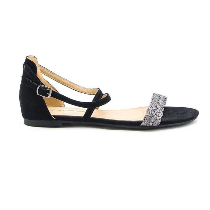 Sandales plates noires-Taille : 36