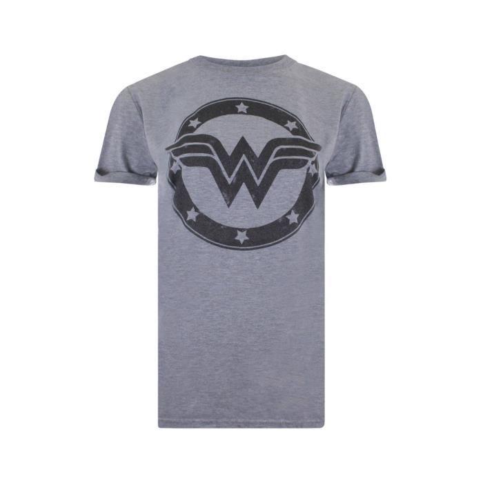 DC Comics T-Shirt Super Héros à Manches Courtes Pour Femme - Motif Imprimé Wonder Woman Logo Effet Métallique - Gris Clair