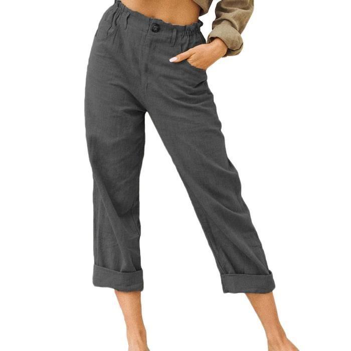 Pantalon en Lin Décontracté pour Femme Ete Causal Taille Haute Taille Élastique Ample Pantalon Fluide 3-4 Longueur Pants,Gris 1