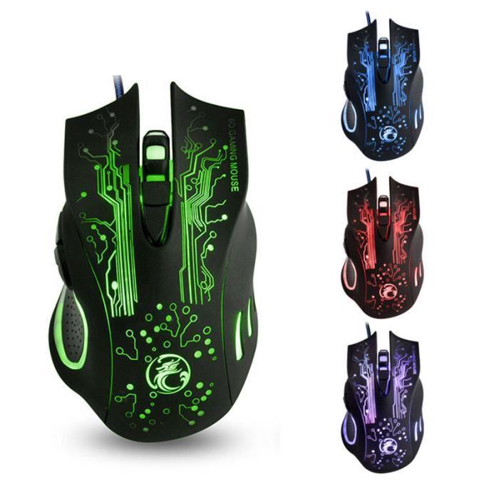 iMICE X9 2400dpi réglable 6 Boutons de respiration LED souris optique USB filaire Gaming Souris - Noir