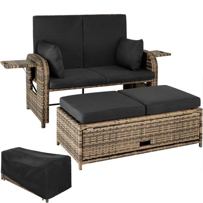 TECTAKE Canapé de jardin CRÈTE en Résine tressée modulable en Bain de soleil 2 Places Coffre de rangement Cadre en Alu Marron