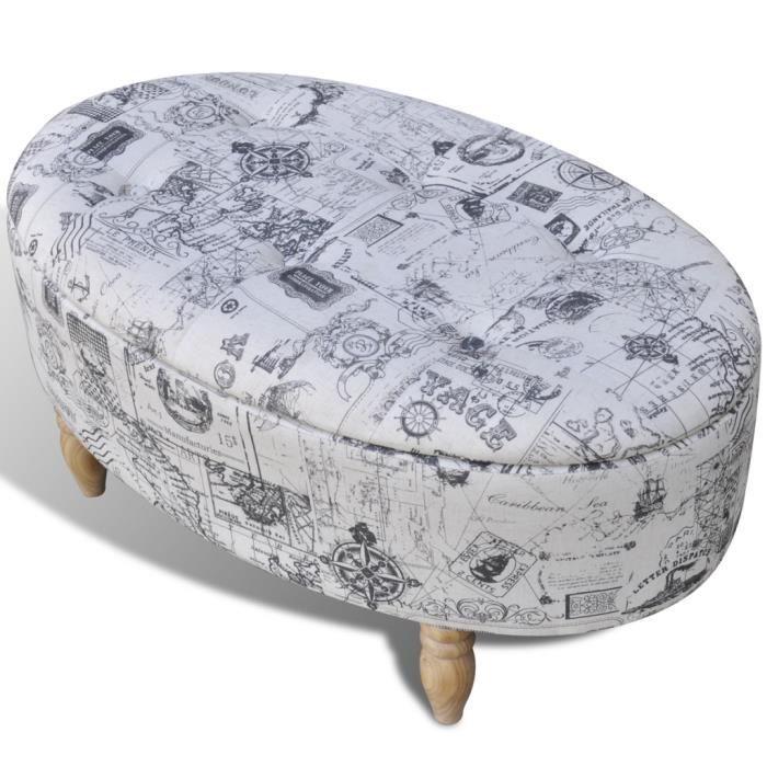 Pouf/Repose-pieds Tabouret ovale 99 x 60 x 47 cm Pieds en Bois massif pour décor de Salon Chambre