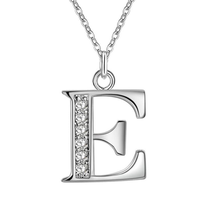 Alphabet 26 collier pendentif charme initial lettres en acier inoxydable plaqué argent