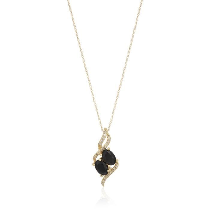 10k Yellow Gold Two Stone Oval With Diamond Accent Pendant Necklace, 18 AY6VP