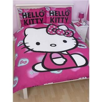 hello kitty parure de couette 2 per lit 140cm achat vente parure de couette cdiscount. Black Bedroom Furniture Sets. Home Design Ideas