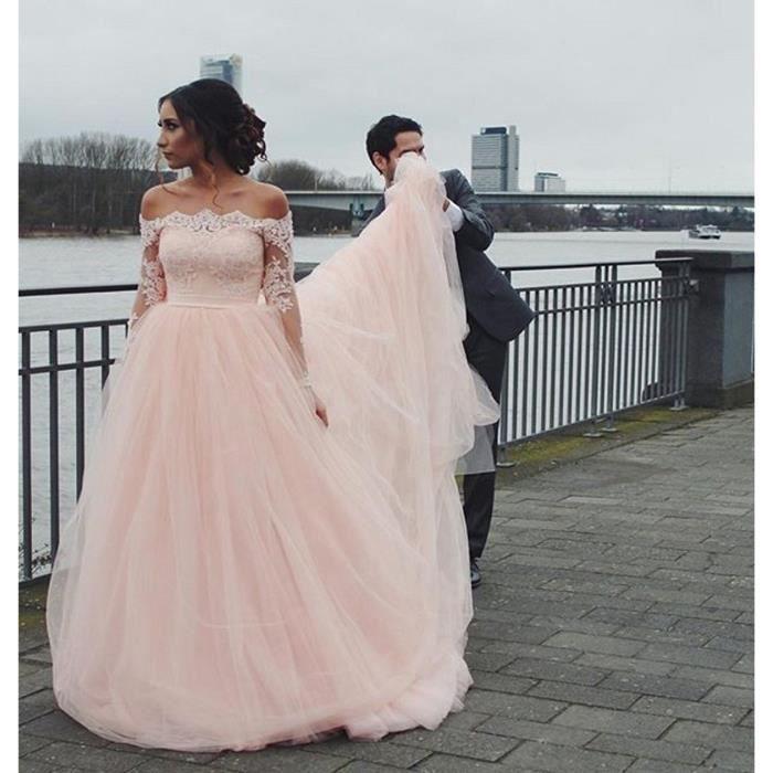 Robe de mariée mariage longue Rose épaule