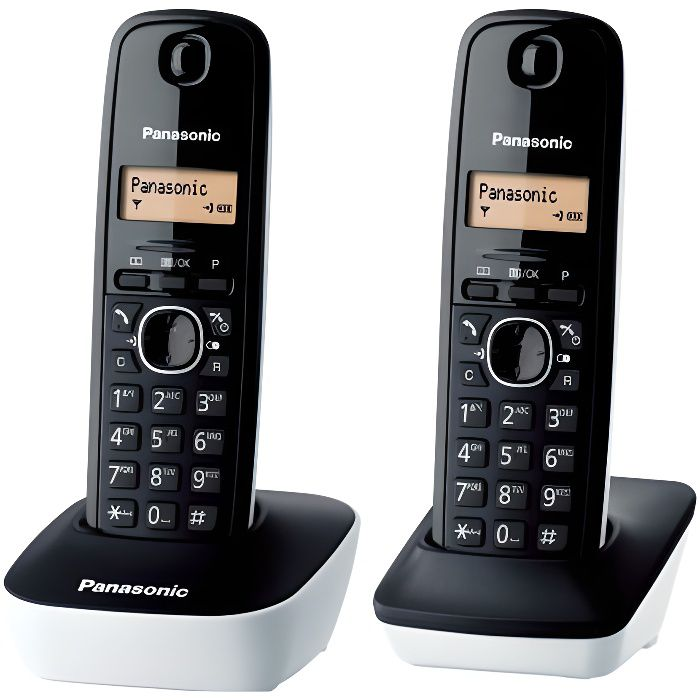 panasonic kx tg1612frw t l phone duo sans fil dect sans r pondeur blanc achat t l phone fixe. Black Bedroom Furniture Sets. Home Design Ideas