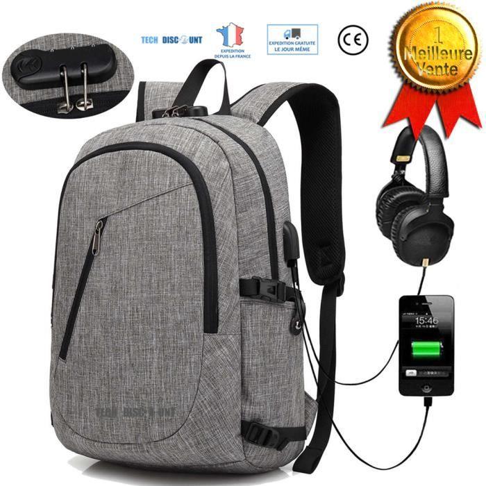 Taille unique Portable pour Loisirs Affaire Scolaire- Noir R/ésistant /à Leau Sac a Dos PC Portable et Sac /à Dos Grande Capacit/é Xnuoyo 17.3 Pouces Sac /à Dos Ordinateur avec USB Charging Port