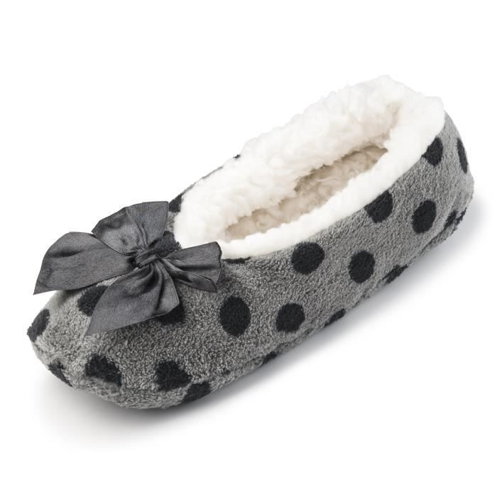 Cartoon Club Fuzzy Fleece House Slippers For W-sherpa Lining | Comfortable Ballerina Indoor Shoes JF48V Taille-L