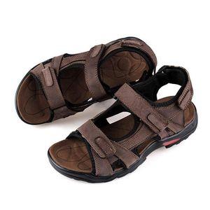 KuaiLu Sandale Hommes /ét/é Plage et Piscine Cuir d/écoration Ultra l/éger Ajustable Velcro Adulte Chaussures