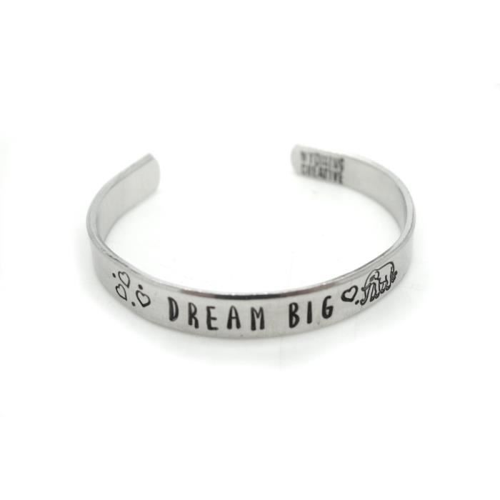 Bracelet Elephant Femmes, Bijoux Elephant Dream Big, citation inspirée GGYIT