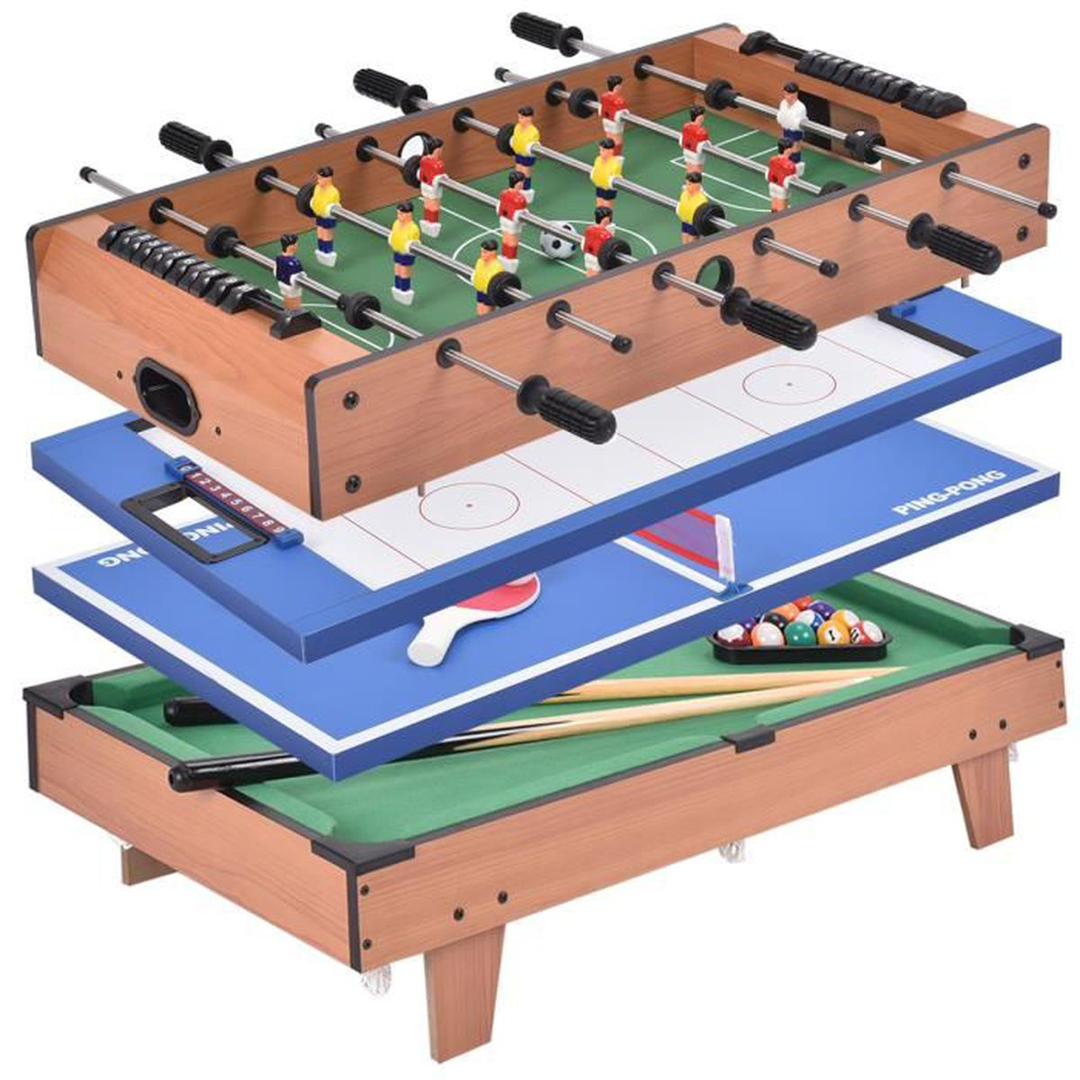 Table multi jeux 4 en 1 baby foot tennis de table hockey billard gain de plac - Table multi jeux enfant ...