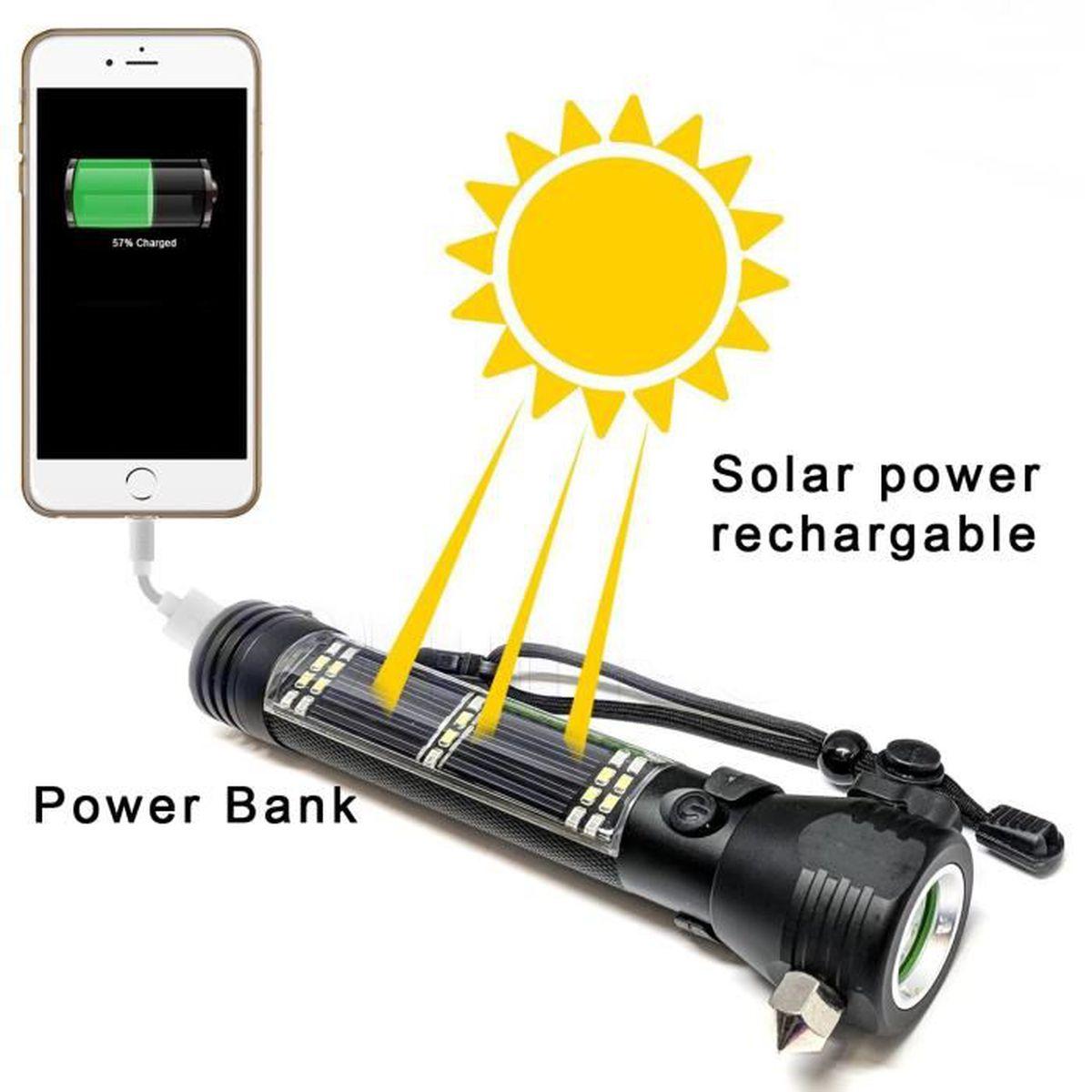 LAMPE DE POCHE Chargement USB LED à énergie solaire lampe de poch