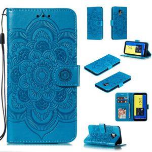 HOUSSE - ÉTUI Pochette Mandala bleu Housse Pour Samsung Galaxy J