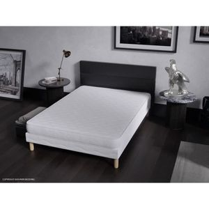 lit adulte avec sommier et matelas 140 190 achat vente. Black Bedroom Furniture Sets. Home Design Ideas