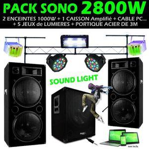 PACK SONO DJ SONO 2800W + ENCEINTES + CAISSON + 5 JEUX DE LU