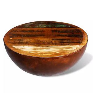 TABLE BASSE Table basse Forme de bol avec base en acier Bois r