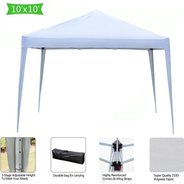 Tonnelle de Jardin 3x3m Pliable Blanc ,Tente Pliante de Jardin Rapide à Installer pour Camping, Festival, Plage, Jardins