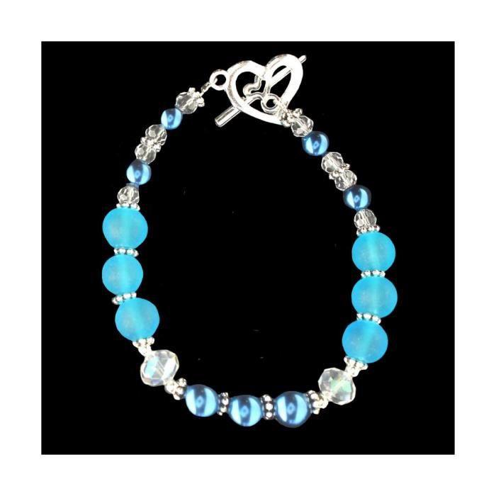 Bracelet fantaisie femme enfant avec des perles nacrées bleue et cristal