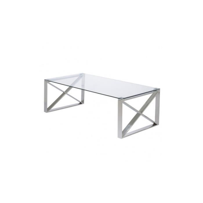 Table basse verre et métal chromé MILWAUKEE 120 cm