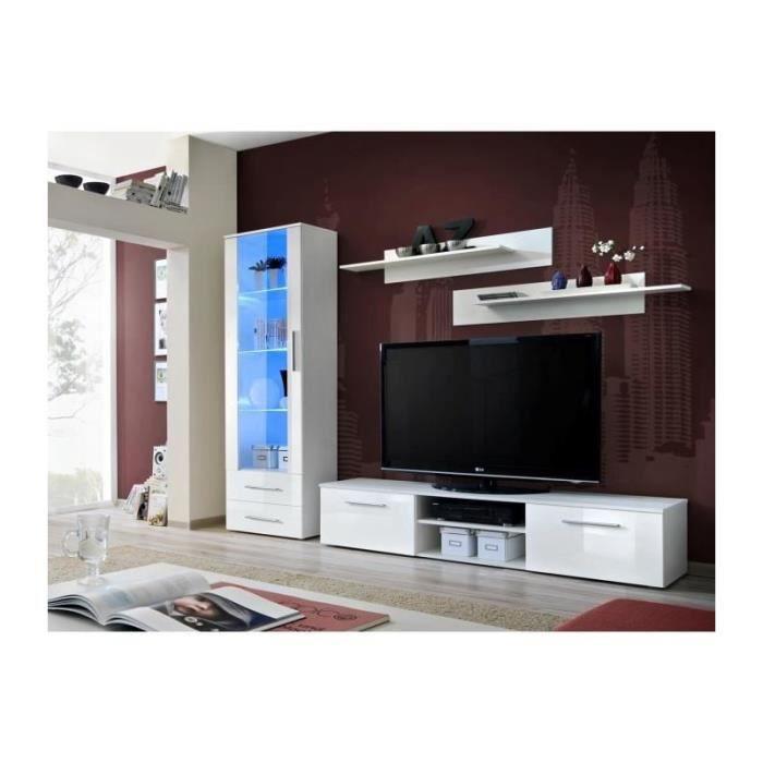 Meuble TV GALINO design, coloris blanc brillant. Meuble moderne et tendance pour votre salon.