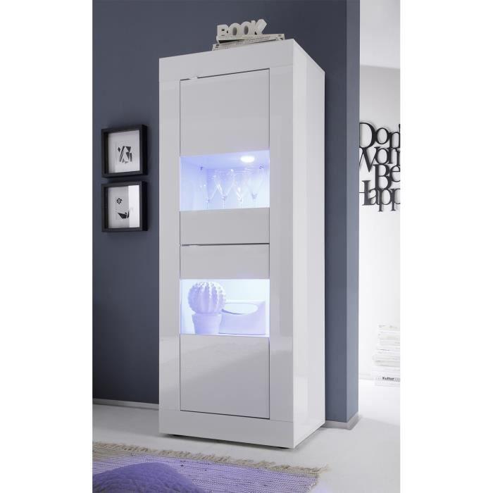 Vitrine blanc laqué 2 portes avec éclairage LED en option design ARIEL Sans L 61 x P 43 x H 162 cm Blanc