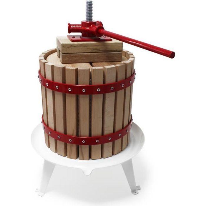 18L Presse à fruits incl. torchon pour pressoir vin fruit chêne cidre de pommes - 30164