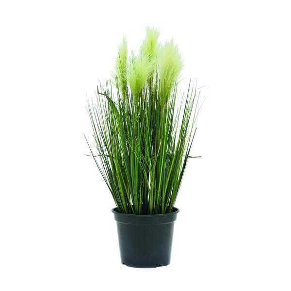 Graminée artificielle, Stipe, en pot, épis blanc, 60 cm - herbe décorative - herbe synthétique - artplants