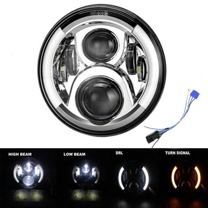 Phare avant LED 7- H4 universel pour moto et voiture, compatible avec BMW et Honda Type O -WM423