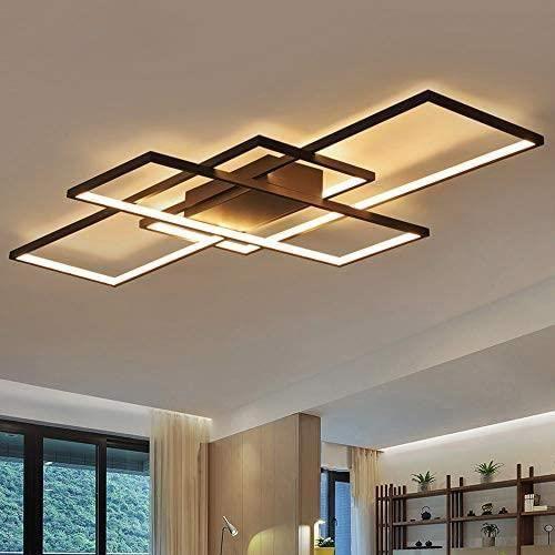 Dellemade Plafonnier LED rectangulaire &agrave 3 ampoules - Design moderne - Noir177