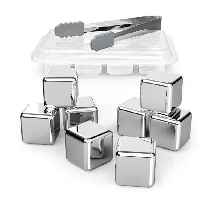 Set de 8 Glaçons à Whisky Pierres Gift Ice Cubes stéatite Acier Inoxydable Bi13849