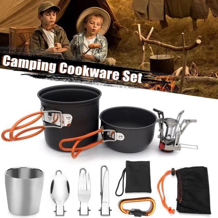 Set De Casseroles Poêles Cuisine De Camping En Plein Air Équipement ORANGE ma32047