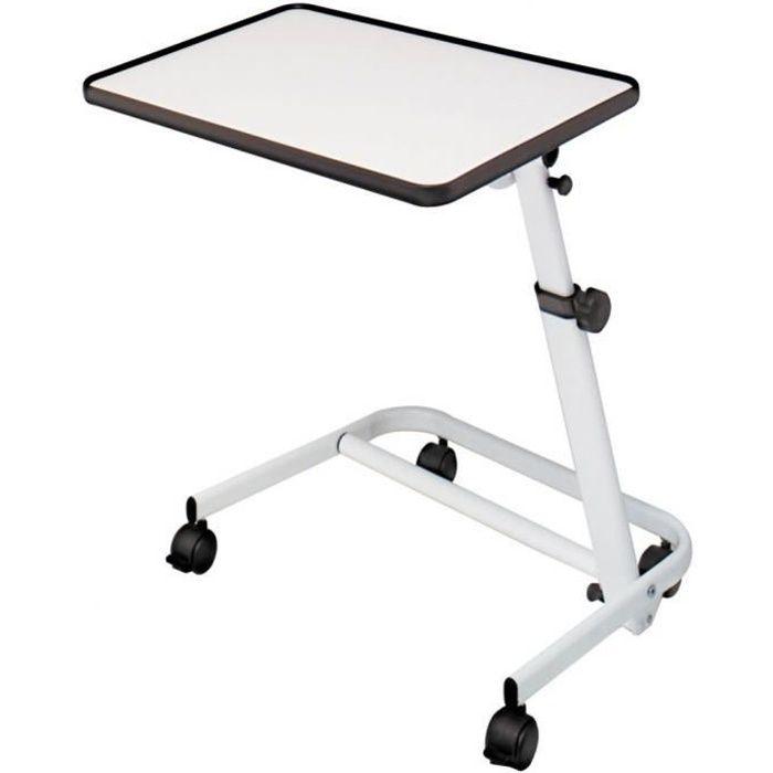 Table pour lit inclinable et pliable avec roulettes et frein Blanc