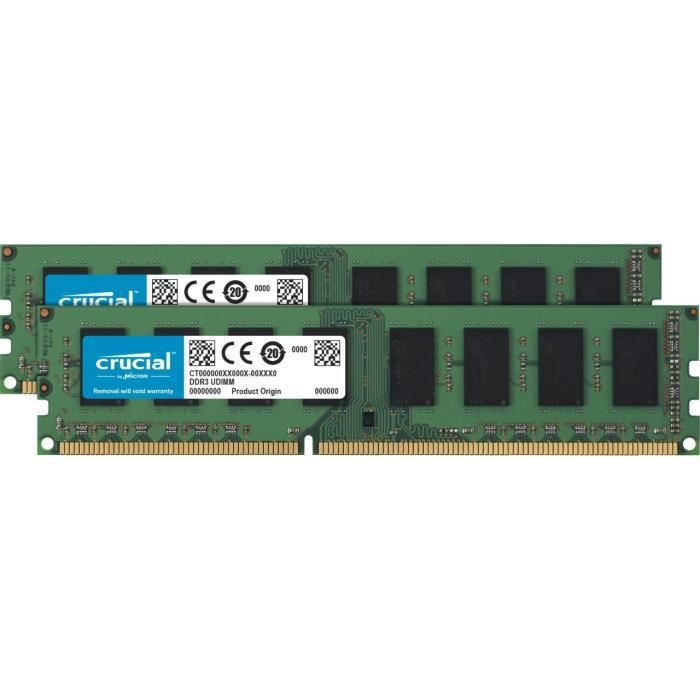 Crucial Ct2k51264bd160bj 8Go Kit (4Gox2) (Ddr3l, 1600 Mt s, Pc3l 12800, Single Rank, Dimm, 240 Pin) Mémoire