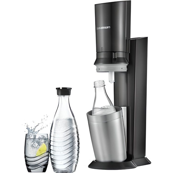 SODASTREAM CRYSTAL BLACK METAL + 2 CARAFES VERRES