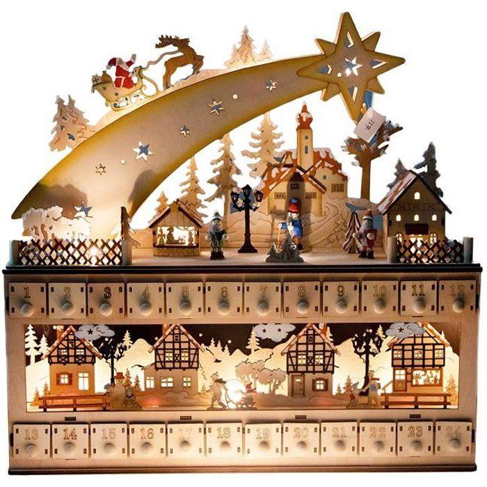 Clever Creations - Calendrier de l'Avent - bois-étoile filante-village enneigé - personnages peints-24 jours - 43,2 x 10,2 x 43,8 cm