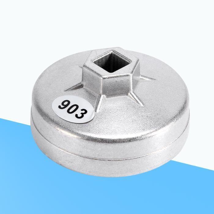 juncolour Outil de démontage de douille de clé de filtre à huile en aluminium de 74mm 14 cannelures 903 couleur argentée