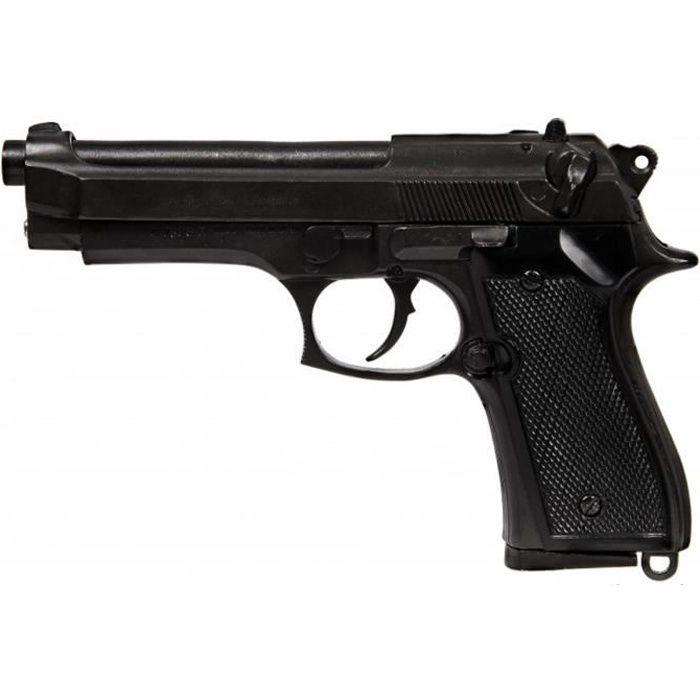 Réplique pistolet Beretta, 92 F 9 mm. Parabellum. Pistolet 92, fabriqué par Beretta en Italie en 1975 en noir, avec un bec aveugle,