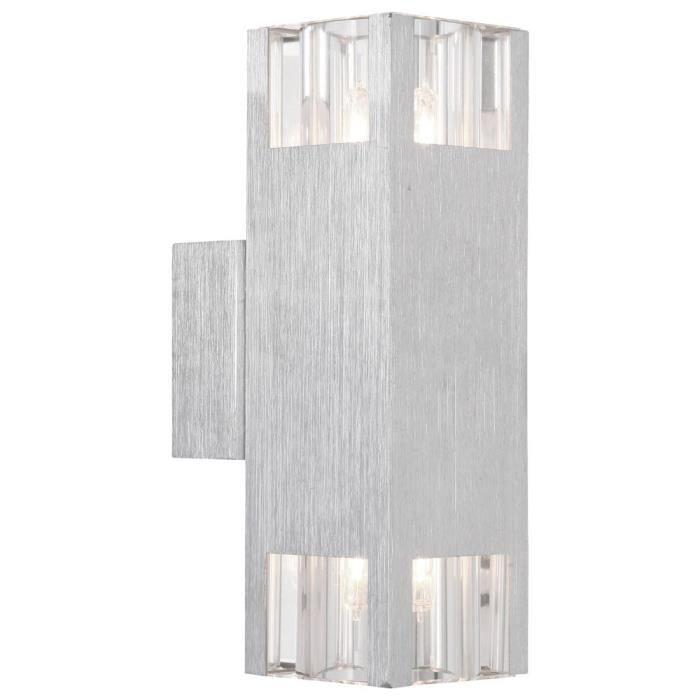 Applique luminaire mural aluminium verre cube argent clair salle de séjour