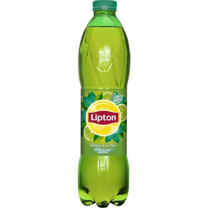 LIPTON Green Ice Tea - Saveur citron vert, menthe 1.5l