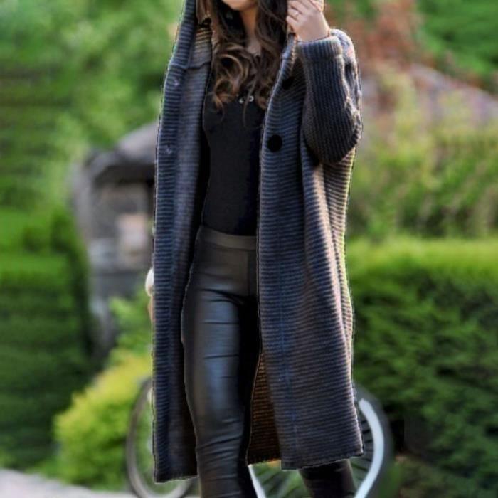 GILET - CARDIGAN Cardigan femme décontracté à capuche chic tricoté manches longues femmes cardigan épais