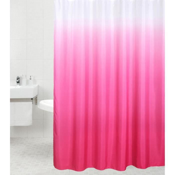 Rideau de douche Rose 180 x 200 cm - de haute qualité - 12 anneaux inclus - imperméable - effet anti-moisissures