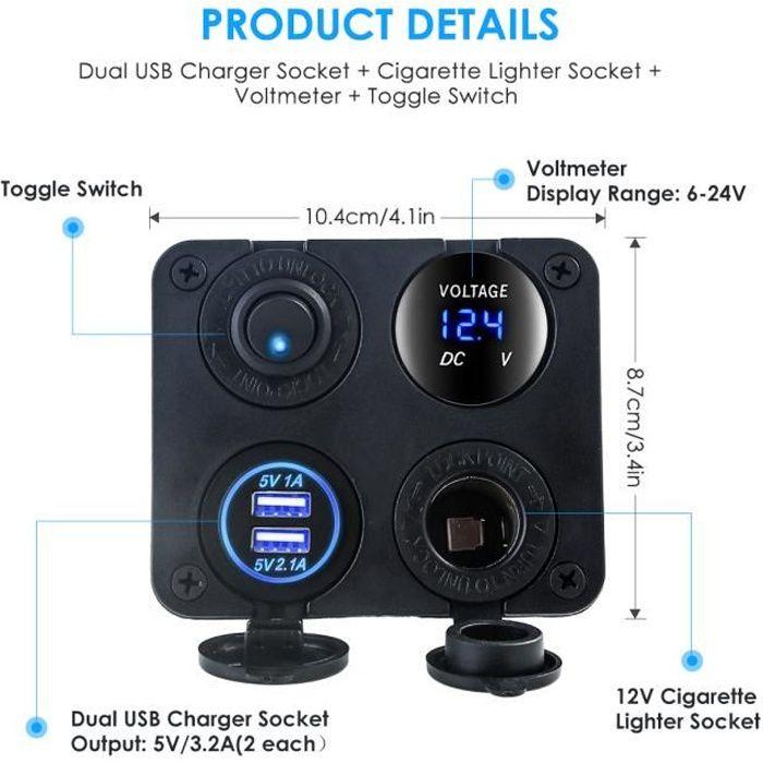 4 en 1Dual USB voiture allume-cigare prise chargeur voltmètre interrupteur 12 V/24 V Blu Ray