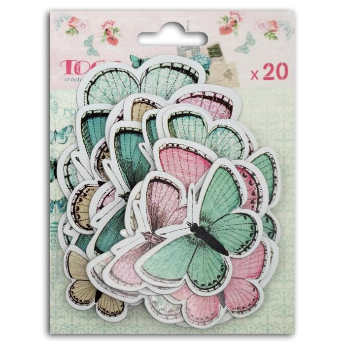 TOGA Lot de 20 Chipboards Papillons Shabby
